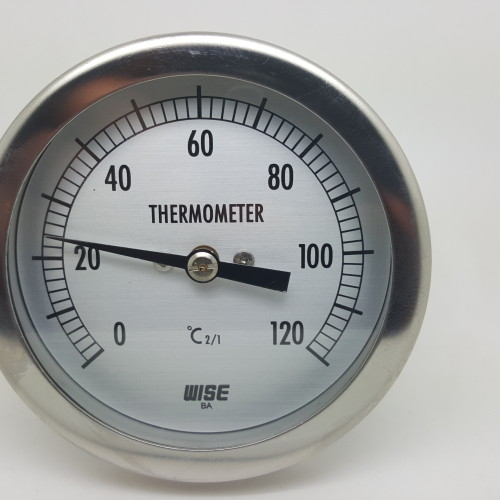 DIAL THERMOMETER 0°C TO 120°C BI-METAL REAR ENTRY S/S 80MM CASE 100MM STEM