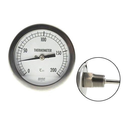 DIAL THERMOMETER 0°C TO 200°C BI-METAL REAR ENTRY S/S 80MM CASE 100MM STEM