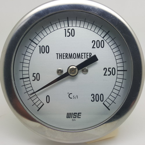 DIAL THERMOMETER 0°C TO 300°C BI-METAL REAR ENTRY S/S 80MM CASE 63MM STEM