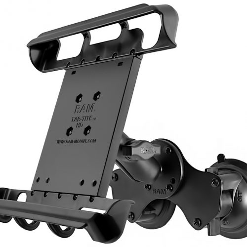 RAM DOUBLE TWIST LOCK SUCTION CUP MOUNT WITH TAB-TITE™ UNIVERSAL SPRING LOADED CRADLE FOR 10″ TABLETS WITH HEAVY DUTY CASES RAM-B-189-TAB8U