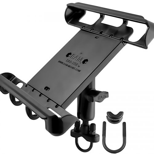 RAM HANDLEBAR OR RAIL MOUNT WITH TAB-TITE™ UNIVERSAL CLAMPING CRADLE FOR LARGE TABLETS WITH HEAVY DUTY CASES RAM-B-149Z-TAB8U