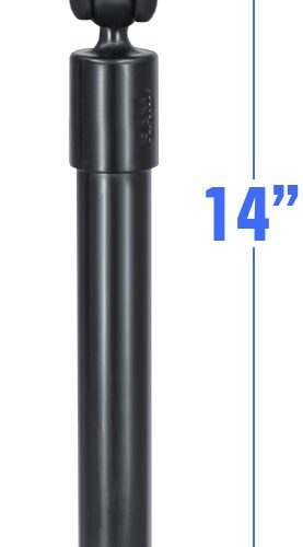 RAM 14″ LONG EXTENSION POLE WITH (2 QTY) 1″ DIAMETER BALL ENDS, AND DOUBLE SOCKET ARM RAP-BB-230-14-201U