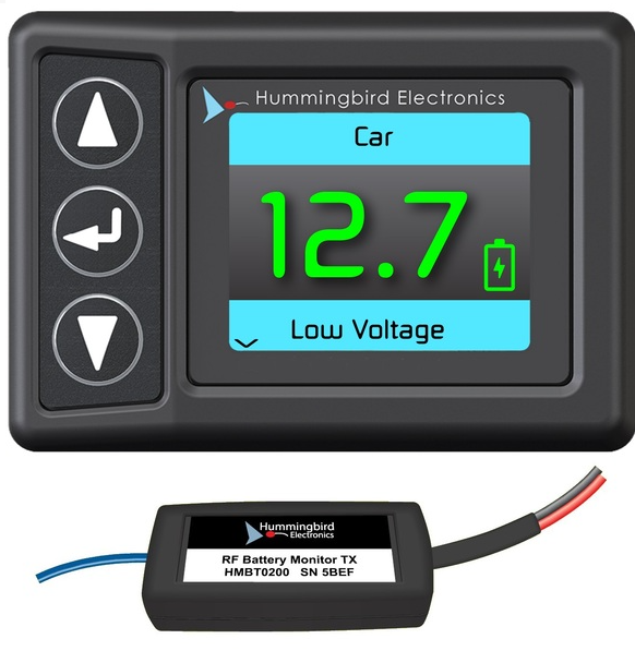 Hummingbird RF Battery Monitor with 4x Receivers